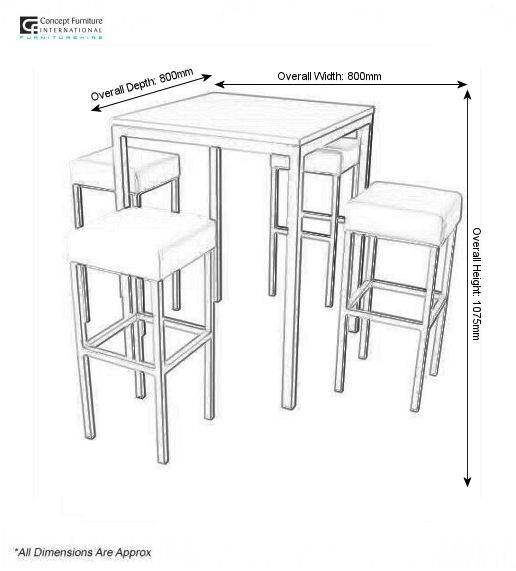 Corrine bar table hire concept furniture
