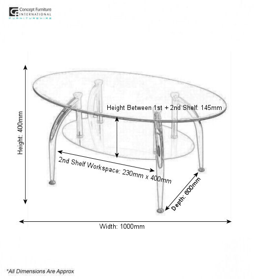 Oval Glass Coffee Table Hire