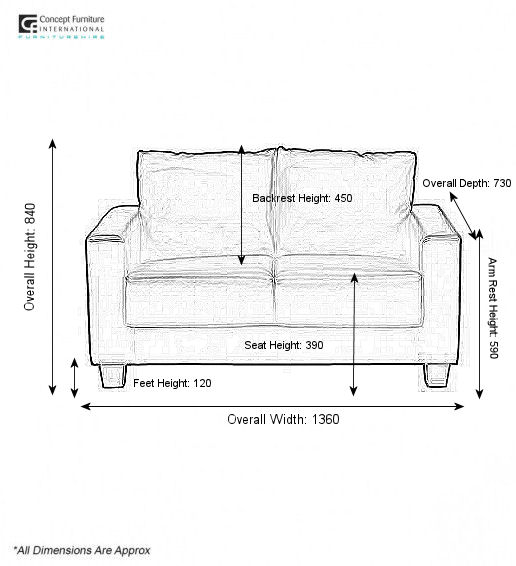 Concept Furniture Hire 2 Seater Sofa For