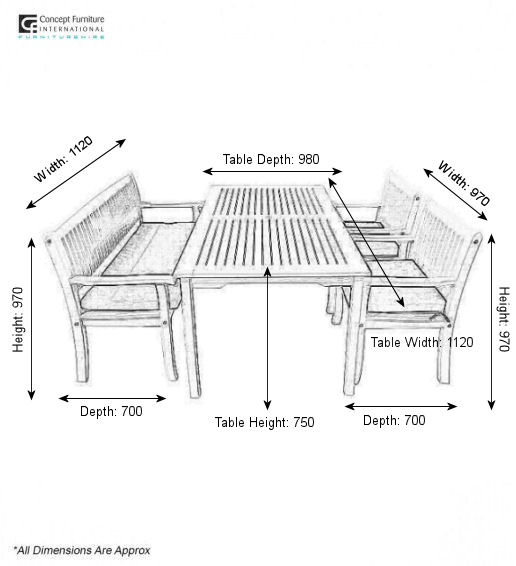 Dimensions: Table: W 1120 H 750 D 980. Chair: W 620 X D 700 X H 970. Bench:  W 1120 X D 700 X H 970 *Table Has A Hole For Parasol